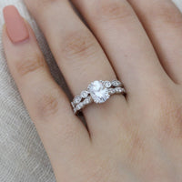 moissanite scalloped ring bridal set white gold bezel diamond wedding band by la more design