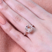 Morganite engagement ring rose gold halo diamond cushion ring by la more design