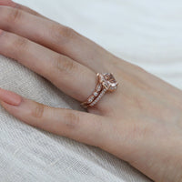 morganite floral ring wedding set rose gold bezel diamond band by la more design