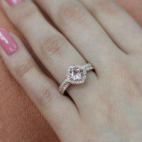 morganite floral ring wedding set rose gold milgrain diamond band by la more design