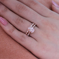 oval morganite solitaire engagement ring in rose gold scalloped diamond band by la more design