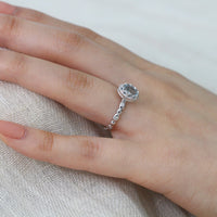 oval aquamarine engagement ring white gold diamond pebble ring by la more design