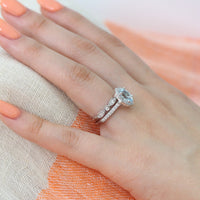 oval aquamarine floral ring wedding set white gold bezel diamond wedding band by la more design