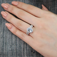 oval aquamarine floral ring wedding set white gold milgrain diamond band by la more design