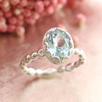 oval aquamarine ring white gold diamond pebble engagement ring by la more design