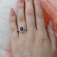 oval black spinel engagement ring scalloped diamond band white gold band by la more design