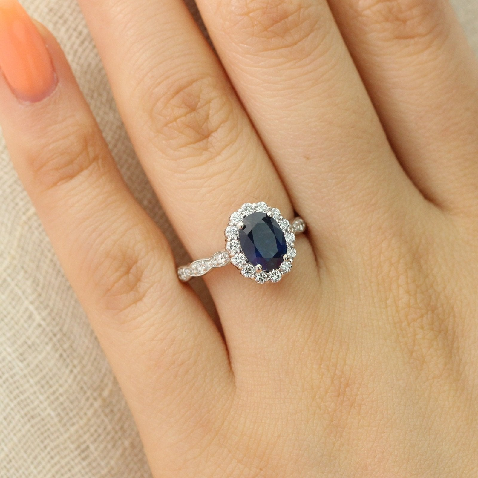 Natural Sterling Silver Tanzanite and White Sapphire Oval Halo Ring