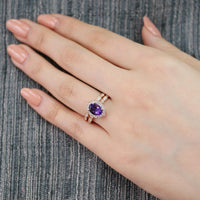 oval floral amethyst engagement ring bridal set rose gold scalloped band by la more design