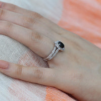 oval floral black spinel engagement ring bridal set white gold scalloped band by la more design