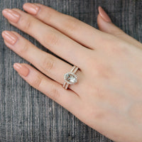 oval green amethyst floral ring wedding set rose gold milgrain diamond band by la more design