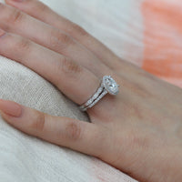 oval moissanite ring bridal set in white gold halo diamond band by la more design