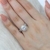 oval moissanite engagement ring scalloped diamond wedding band set white gold by la more design