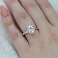 oval moissanite engagement ring yellow gold pebble diamond ring by la more design