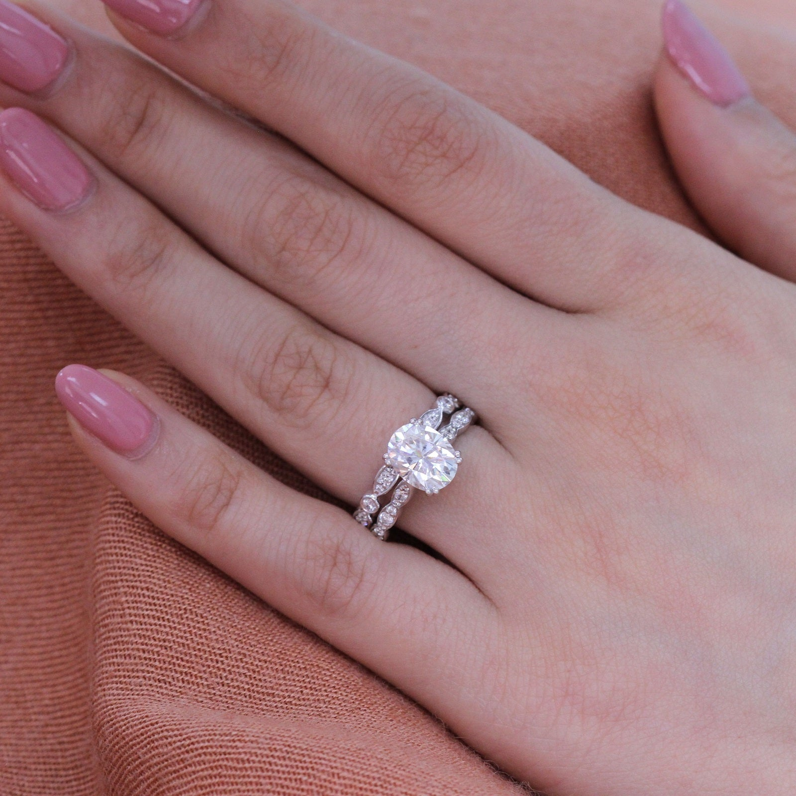 Grace Solitaire Bridal Set In Bezel Scalloped Band W Moissanite And