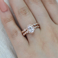 oval moissanite wedding ring set rose gold pebble diamond band by la more design