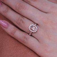 oval morganite engagement ring in rose gold halo diamond ring by la more design