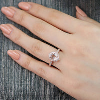 oval morganite engagement ring rose gold milgrain diamond band vintage floral ring by la more design