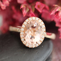 Luna Halo Diamond Oval Morganite Engagement Ring in 14k Rose Gold, Size 6.75