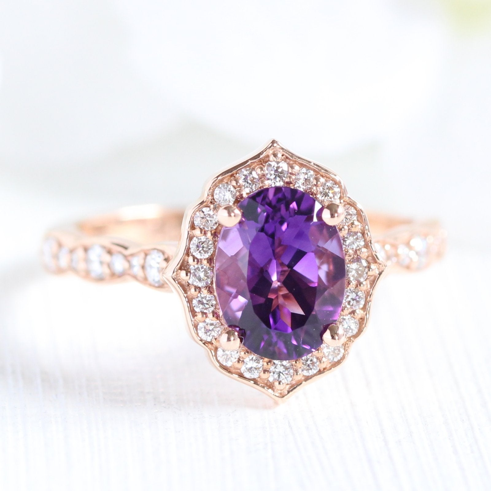 Vintage Floral Oval Ring In Scalloped Band W Amethyst And Diamond La More Design