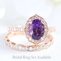 oval amethyst ring bridal set in rose gold vintage inspired band by la more design