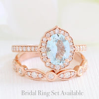 oval aquamarine ring bridal set in rose gold vintage inspired band by la more design