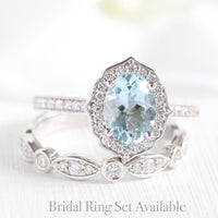oval aquamarine ring bridal set in white gold vintage inspired band by la more design
