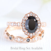 oval black spinel diamond ring bridal set in rose gold vintage inspired band by la more design