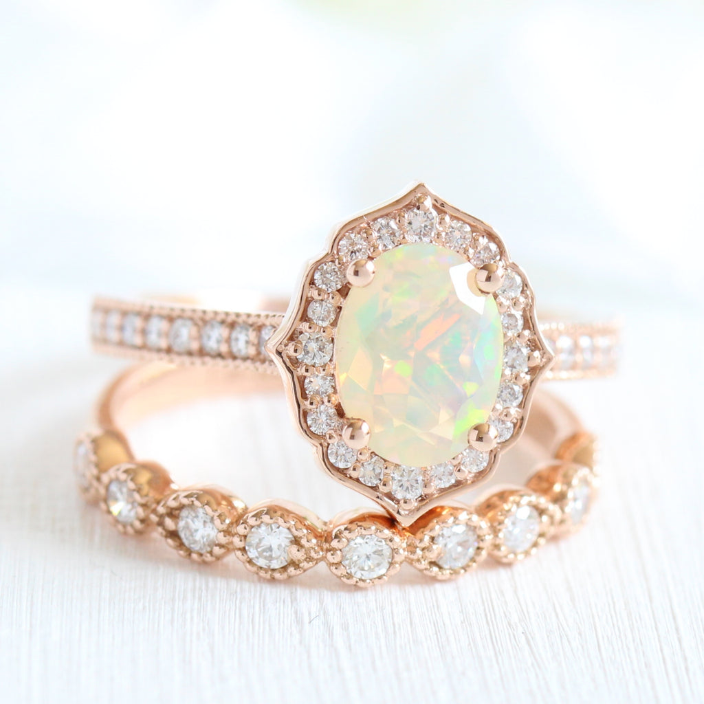 Oval Opal Ring Vintage Rose Gold Engagement Ring White Opal Wedding Ring Three Stone Jewelry Opal Solitaire Promise Jewelry,Gift For Women