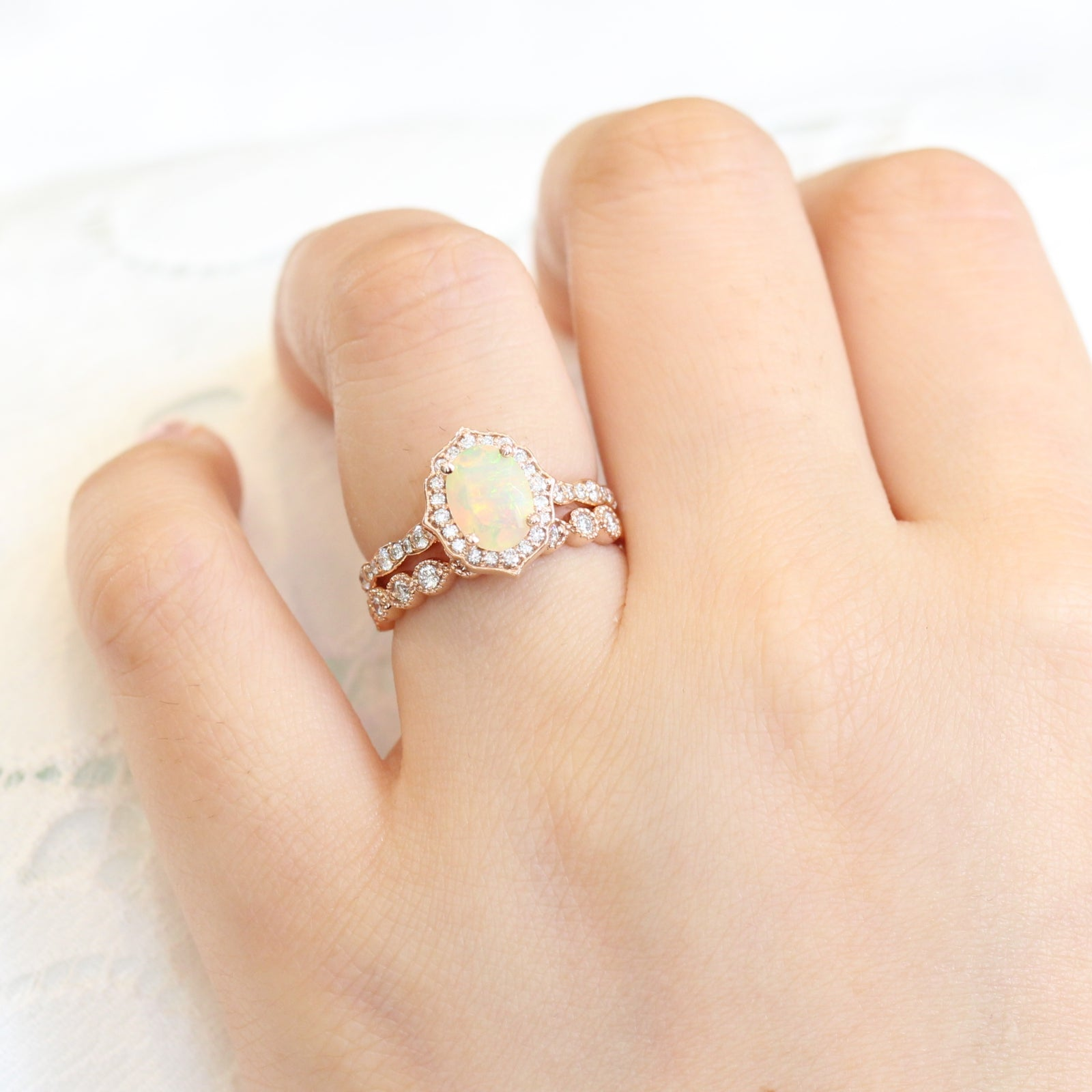 Rny Jewelry Fashion Flower White Opal Rings Fashion Vintage Jewelry For Women Wedding Rings