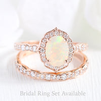 oval cut opal ring bridal set in rose gold vintage floral diamond band by la more design