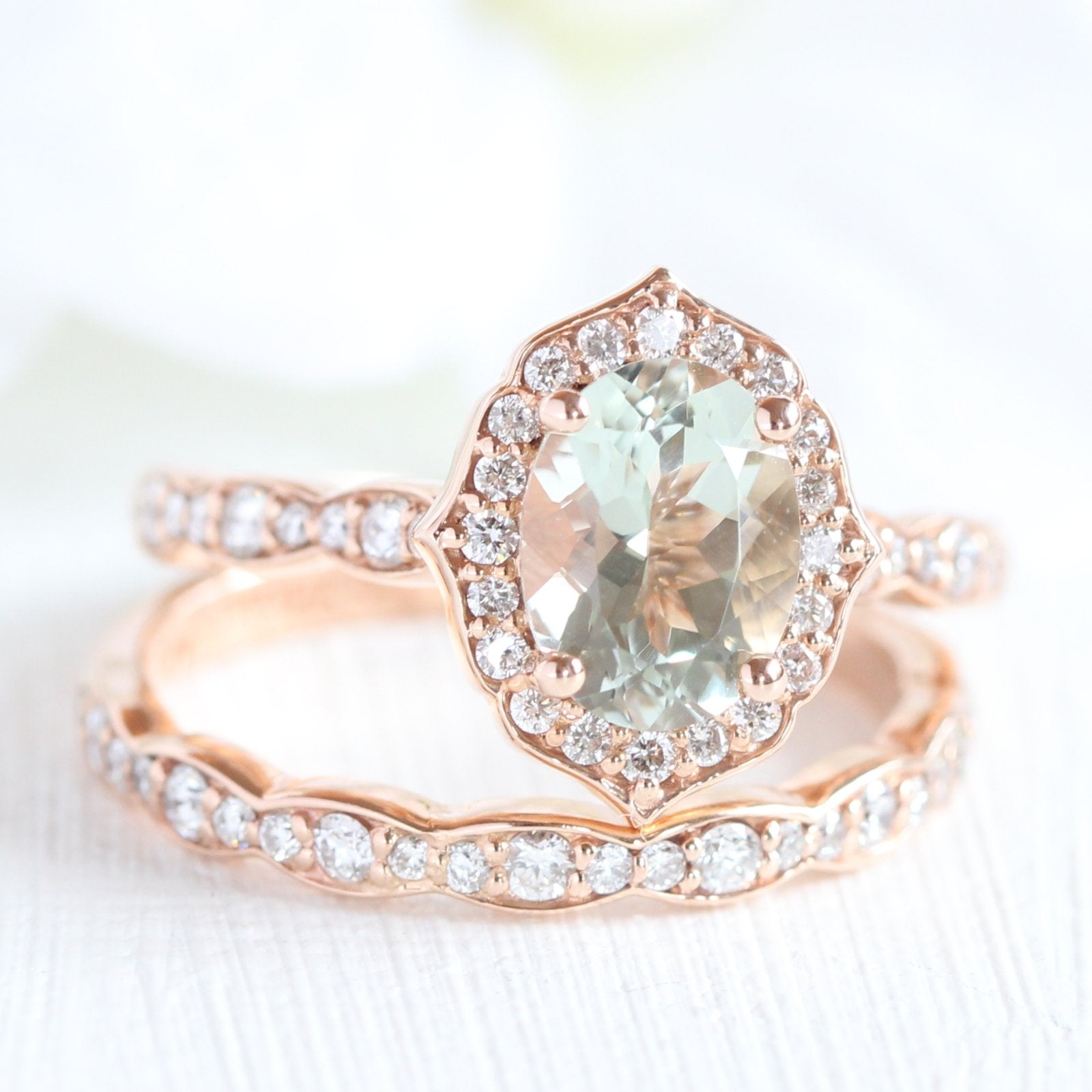 c2284e0554cc1 Oval Vintage Floral Bridal Set in Scalloped Band w/ Green Amethyst and  Diamond