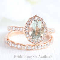 oval green amethyst ring bridal set in rose gold vintage inspired band by la more design