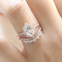 oval moissanite engagement ring halo diamond bridal set rose gold and crown diamond wedding band by la more design jewelry