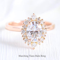 tiara halo diamond oval moissanite engagement ring rose gold la more design jewelry