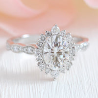 oval moissanite engagement ring white gold in halo diamond cluster ring by la more design jewelry