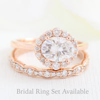halo diamond ring bridal set and matching diamond wedding band in rose gold east west engagement ring by la more design jewelry