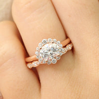 oval moissanite halo ring bridal set in rose gold east west diamond ring by la more design jewelry