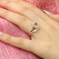 oval morganite ring and curved crown diamond band rose gold vintage halo bridal set by la more design