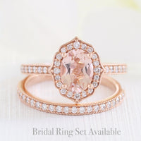 oval morganite ring bridal set in rose gold vintage inspired band by la more design