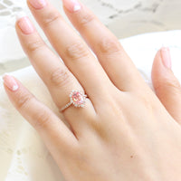 oval peach sapphire engagement ring rose gold halo diamond ring low profile ring by la more design jewelry