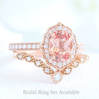 oval peach sapphire bridal set in rose gold vintage floral curved star diamond band by la more design