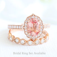 oval peach sapphire bridal set in rose gold vintage floral milgrain diamond band by la more design