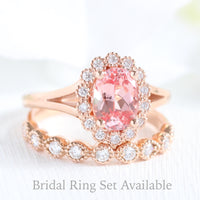 oval peach sapphire ring and milgrain diamond band in rose gold bridal set by la more design