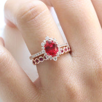 oval ruby engagement ring rose gold halo diamond bridal set and bezel ruby wedding band by la more design jewelry