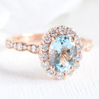 oval aquamarine engagement ring in rose gold halo diamond ring by la more design jewelry
