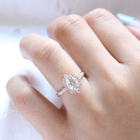 oval moissanite engagement ring rose gold in halo diamond cluster band by la more design jewelry