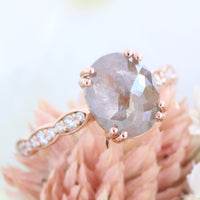 oval salt and pepper diamond ring rose gold pear solitaire grey diamond ring la more design jewelry