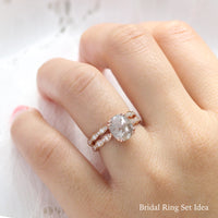 oval salt and pepper diamond ring rose gold pear solitaire grey diamond ring stacking bridal set ring la more design jewelry