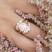 peach sapphire engagement ring diamond stacking ring set rose gold by la more design jewelry