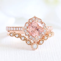 peach sapphire ring and curved diamond band in rose gold bridal set by la more design